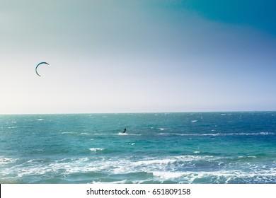 Kite surfing  in the Mediterranean Sea