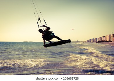 Kite surfing near the city of Cadiz, southern Spain. Vintage