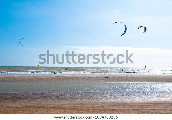 Kite surfing on the beach