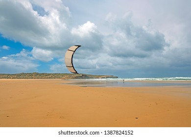 Kite surfing on Carapateira beach in Portugal