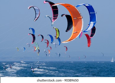 kite surfing  on the sea