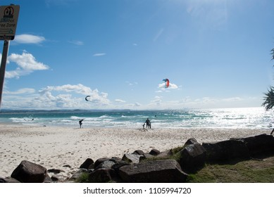 Kite surfing at Rainbow bay, Kirra, Tweed Heads.