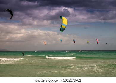 Kite surfing at Sotavento beach in Fuerteventura, Canary Islands, Spain