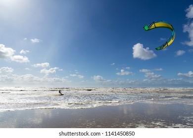 kiteboarder at the Dutch North Sea coast