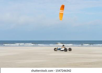 Kitebuggy on the north sea beach
