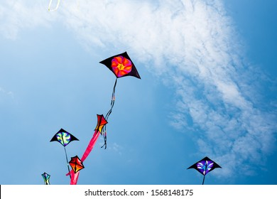 Kites with blue sky and white clouds