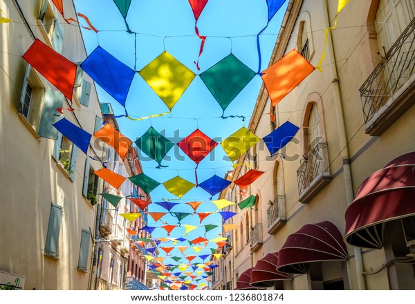 Kites during street festival in Ceret, France