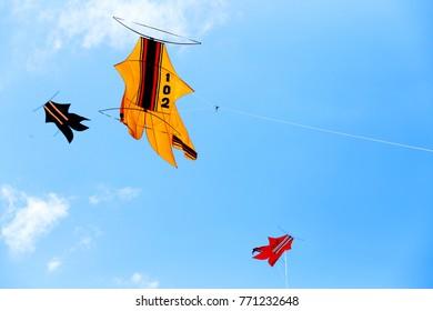 Kites - October 2nd 2017 : Three Traditional Kites of Bali. Sanur Beach, Bali, Indonesia
