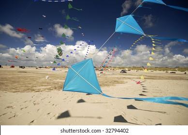 Kites in a row from 25. International Kite Fliers Meeting Fanoe, June 20, 2009 on Fanoe Island, Denmark.