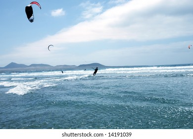 Kite-sailor in ocean