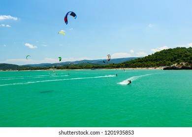 kitesurf along the Gargano coast in Puglia, Italy