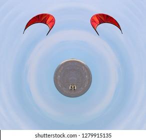 kitesurfer on a minature planet