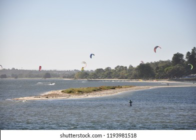 Kitesurfers off Point Walter sandbar in the Swan River, Perth, Western Australia