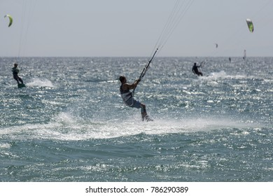 Kitesurfers on Tarifa. Spain.
