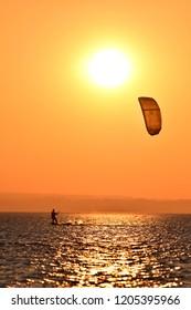 Kitesurfing. Baltic sea.