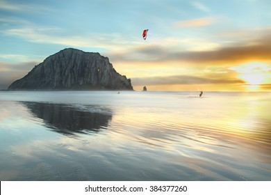 Kitesurfing in the evening at Morro Bay Beach