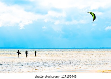 Kitesurfing lesson in shallow water. Chalupy , Poland