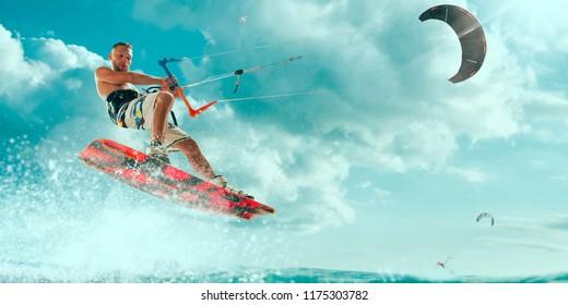 Kitesurfing. Man rides a kite