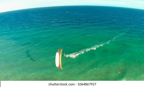 Kitesurfing on the coast of the Philippines. Aerial views.