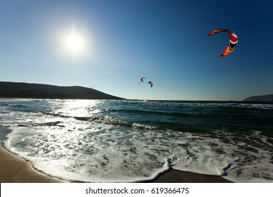 Kitesurfing in the Prasonisi. Rhodes. Greece.