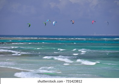 kitesutfing on the wave of north coast of fuerteventura