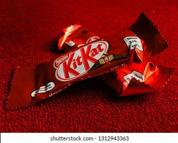 kitkat bar. kit kat chocolate. yogyakarta indonesia. february 14, 2019.