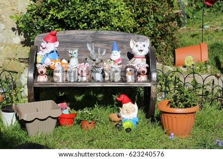 Kitsch Garden Ornaments Gnomes Stock Photo Edit Now 623240576