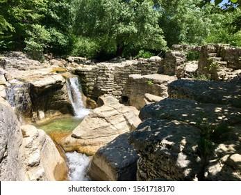 Kitsha waterfall in the mountains of Georgia