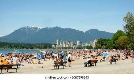Kitsilano Beach is Vancouver`s most social beach, Vancouver, BC, Canada. May 27, 2017