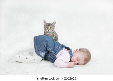 kitten sitting on baby