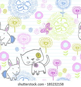 Kitty and flower, Seamless tile, can be used as background