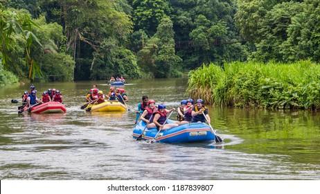 Kitulgala  Sri Lanka July 30 2017 -  Rafting at the Kelani Kanga river with White Water Rafting adventure in Sri Lanka