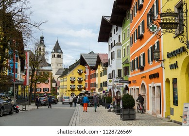 KITZBUHEL, AUSTRIA - October 10,2017. Colourful of building on the street of historical center of Kitzbuhel, Austria.