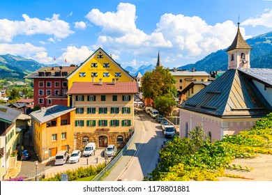 KITZBUHEL TOWN, AUSTRIA - AUG 1, 2018: View of Kitzbuhel town from church terrace in summertime. It is popular Austrian holiday destination in summer.
