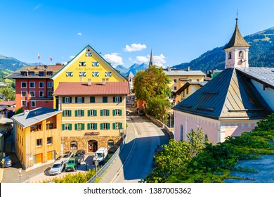 KITZBUHEL TOWN, AUSTRIA - JUL 30, 2018: View of Kitzbuhel town from church terrace in summertime. It is popular Austrian holiday destination in summer.
