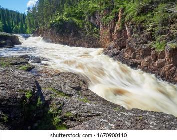 Kiutakongas rapids summer view in Oulanka National Park. One part of Karhunkierros Trail. Kuusamo, north Finland, Lapland, Europe