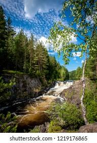 Kivach waterfall on the river Suna, Karelia, Russia, background