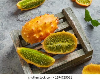 Kiwano fruits on a crate