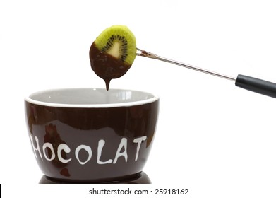 Kiwi and chocolate fondue