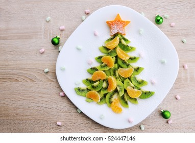 Kiwi Christmas tree - Christmas food background top view blank space for text