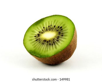 Kiwi Closeup on White Backgrround