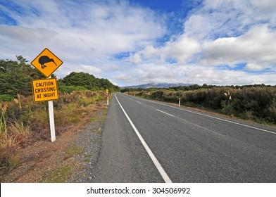 Kiwi crossing road sign in New Zealand