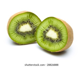 kiwi cut in half, isolated on white