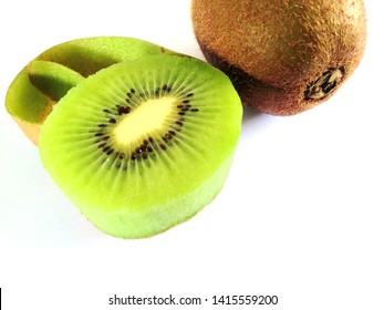 Kiwi fruit and another half hem on a white background , Surface of kiwi fruit