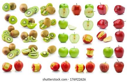 kiwi fruit apple isolated on white background
