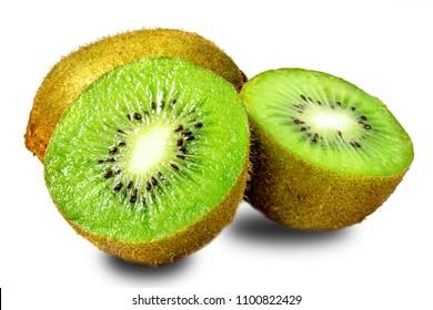 kiwi fruit and half kiwi fruit isolated on white background
