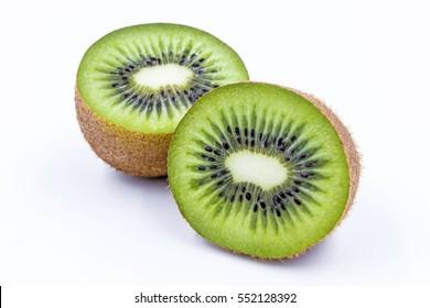 Kiwi fruit, half of qiwi isolated on white background. Cut of green sweet kiwi. Kiwi healthy food.