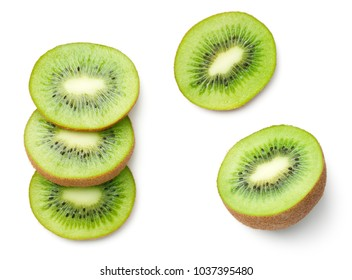 Kiwi fruit isolated on white background. Top view