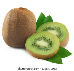 Kiwi fruit isolated on white background.