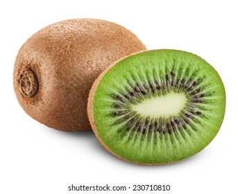 Kiwi fruit isolated on white background. Clipping Path